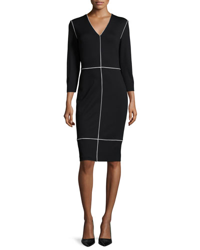 Long-Sleeve Two-Tone Sheath Dress, Black
