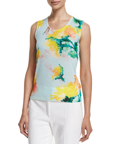 Scoop-Neck Carnation-Print Tank, Multi Colors