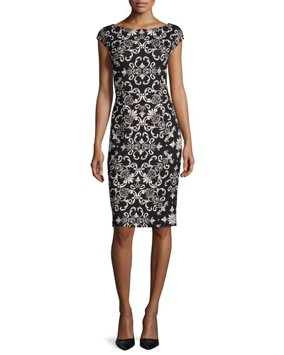 Cap-Sleeve Heritage Printed Sheath Dress, Sand Dune