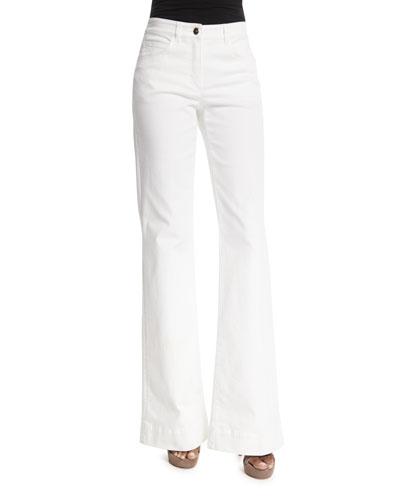 Mid-Rise Flare-Leg Jeans, White