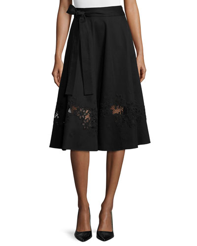 Cotton Wrap Skirt W/Lace Inset, Black