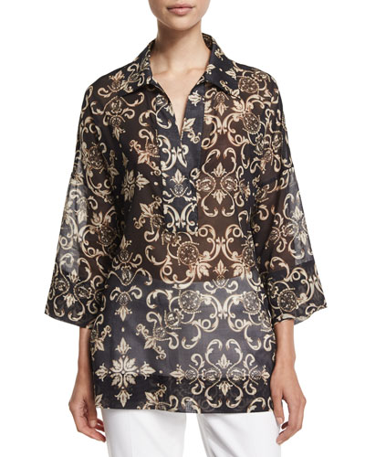 3/4-Sleeve Printed Tunic, Black