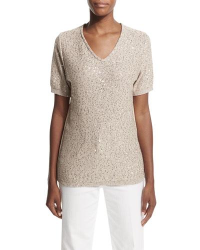 Short-Sleeve Embellished Top, Sand Dune