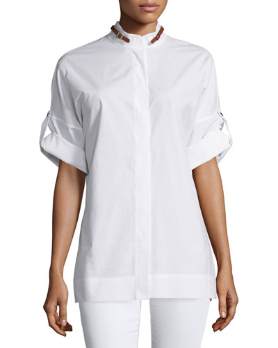 Rolled-Sleeve Buckle-Detail Shirt, White