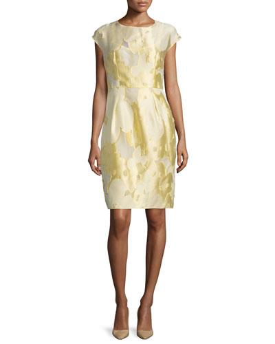 Cap-Sleeve Floral Sheath Dress, Limoncello