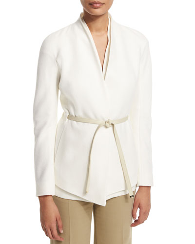 Cashmere Open-Front Jacket W/Belt, Off White