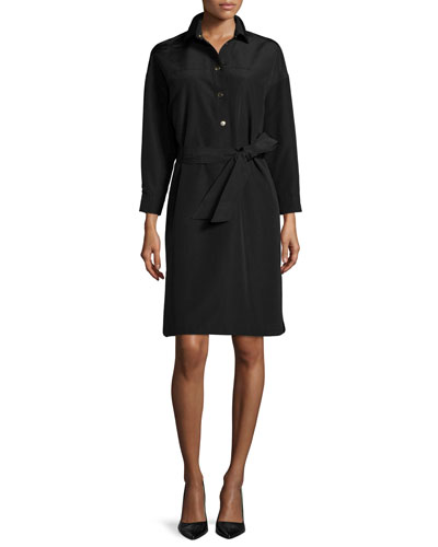 Snap-Front Belted Safari Shirtdress, Black