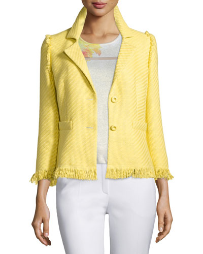 3/4-Sleeve Two-Button Jacket, Limoncello