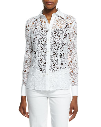 Button-Front Macrame Blouse, White