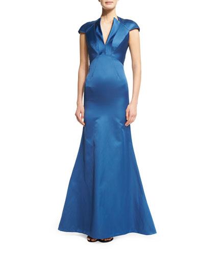 Cap-Sleeve Mermaid Gown, Sapphire