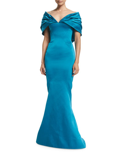 Off-The-Shoulder Mermaid Gown, Topaz