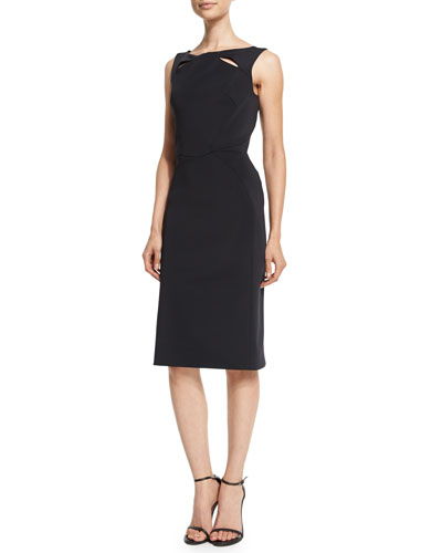 Sleeveless Sheath Dress W/Cutouts, Licorice