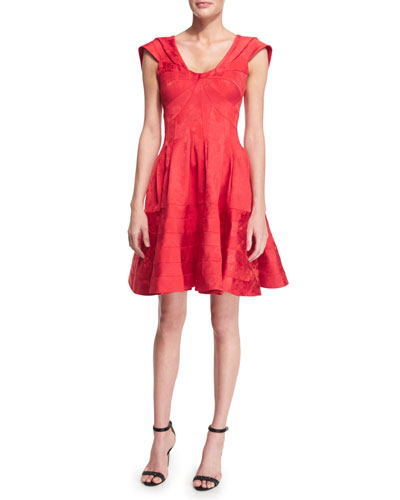 Sleeveless Scoop-Neck Party Dress, Ruby