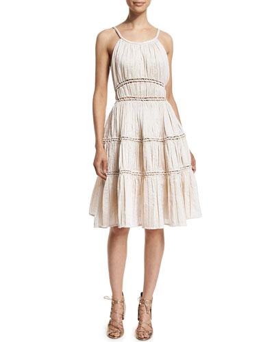 Sleeveless Open-Stitch Seamed Dress, Porcelain