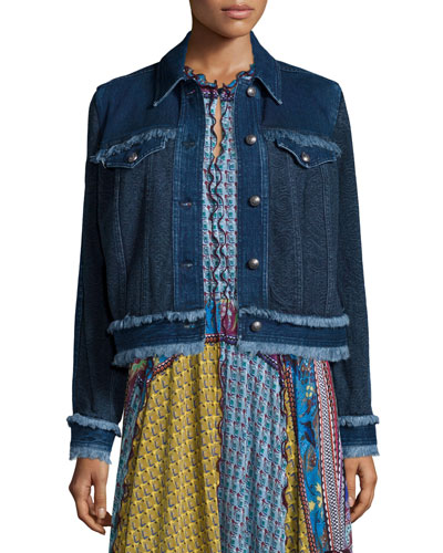 Paisley Denim Jacket W/Fringe Trim, Navy