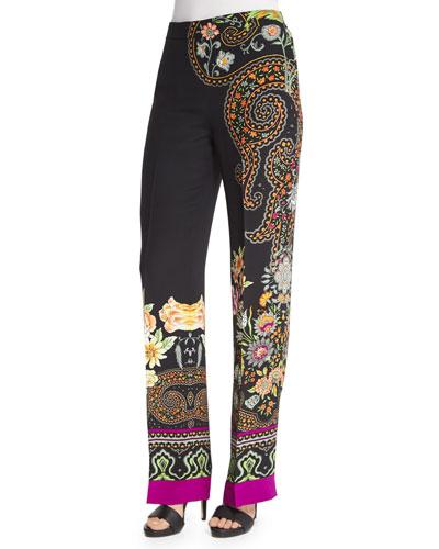 Largo Scroll-Border Pants, Black