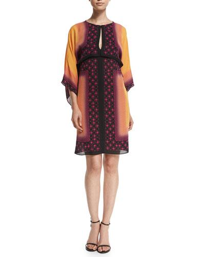 3/4-Sleeve Mixed-Print Tunic Dress, Rust