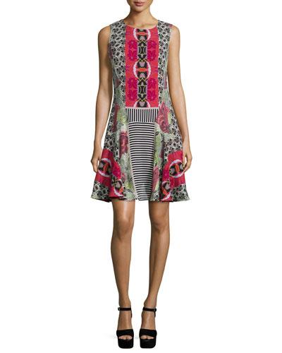Sleeveless Geometric-Print Flounce Dress, Red