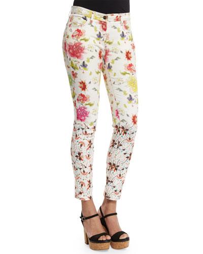 Gradation-Floral Skinny Jeans, White