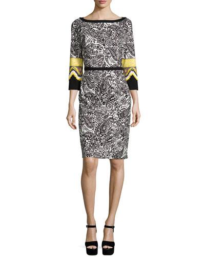 3/4-Sleeve Sheath Dress, Gold