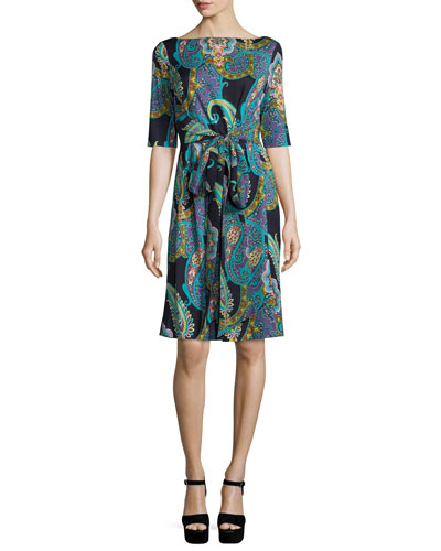 Half-Sleeve Paisley-Print Wrap Dress, Black