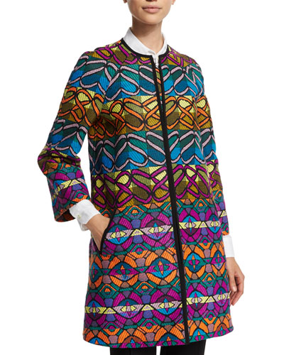 Tribal-Striped A-Line Coat, Green