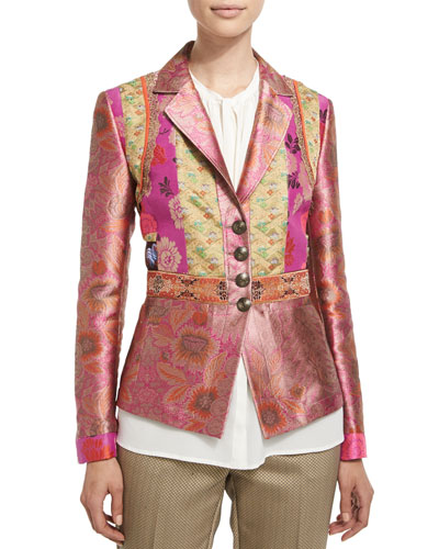 Fitted Button-Front Brocade Jacket, Purple