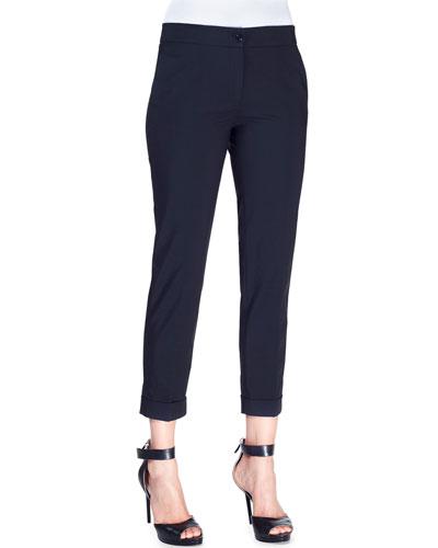 Stretch Cotton-Blend Cuffed Pants, Black