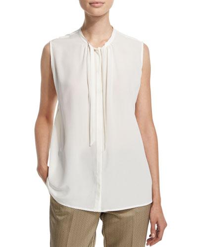 Sleeveless Tie-Neck Top, White