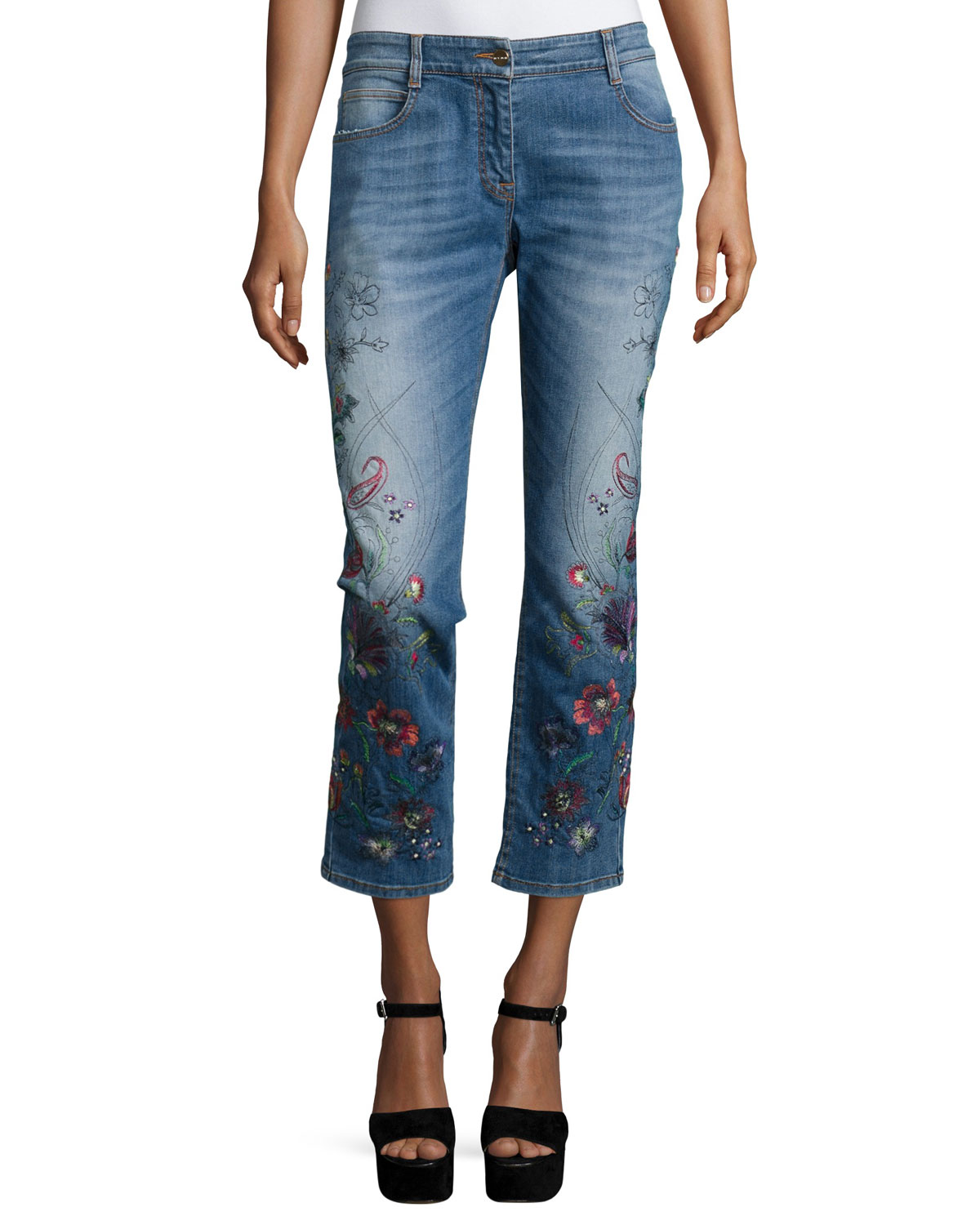 Floral Embroidered Cropped Jeans, Blue