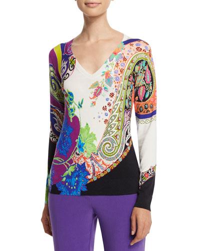 Long-Sleeve V-Neck Sweater, Purple