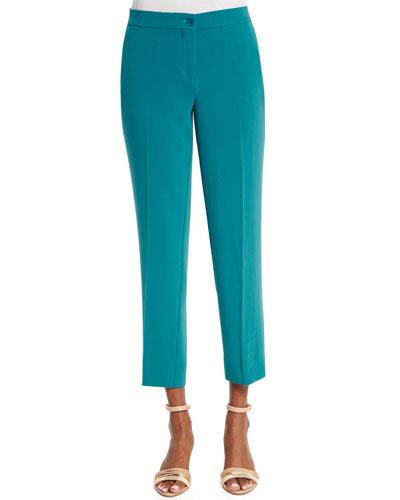 Slim-Fit Cady Capri Pants, Turquoise