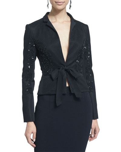 Self-Tie Embellished Jacket, Black