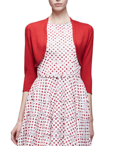 3/4-Sleeve Open-Front Bolero Cardigan, Ruby