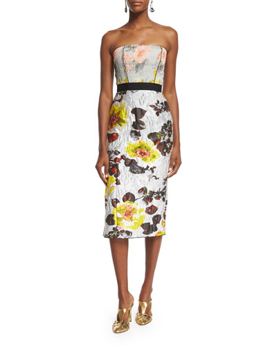 Strapless Mixed-Floral Cocktail Dress, Dove/Lemon