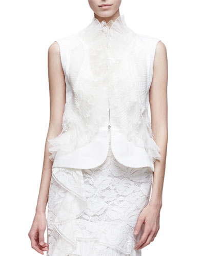 Sleeveless Lace Peplum Jacket, White