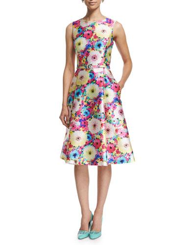 Sleeveless Floral-Print Day Dress, Azalea