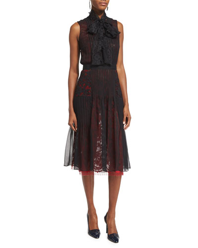 Sleeveless Tie-Neck Dress, Black/Ruby Lace