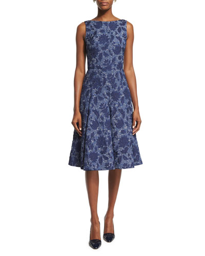 Sleeveless Fit-and-Flare Day Dress, Navy