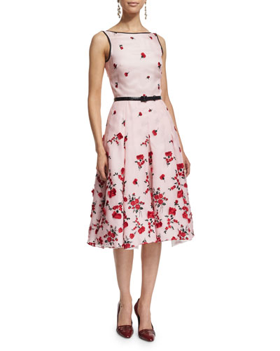 Sleeveless Carnation-Embroidered Cocktail Dress, Rose