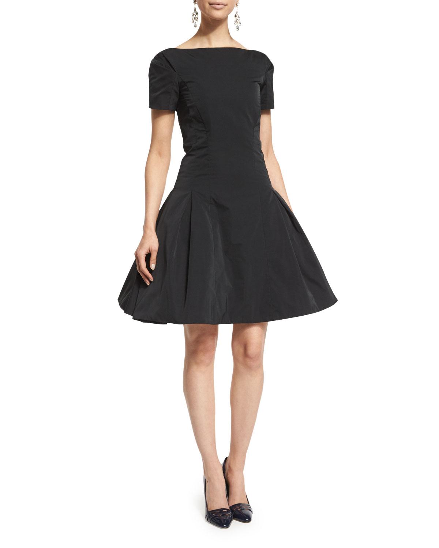 Short-Sleeve Structured Cocktail Dress, Black