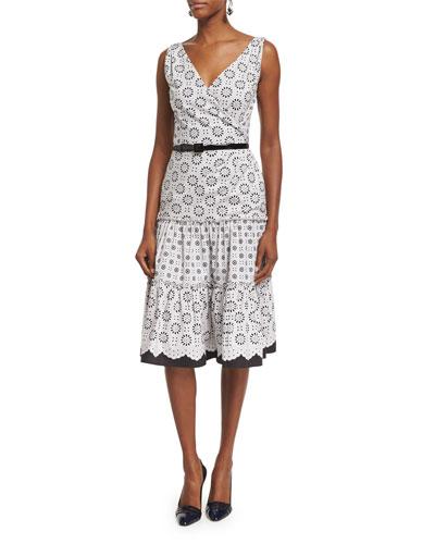 Sleeveless Tiered-Skirt Day Dress, Ivory/Multi
