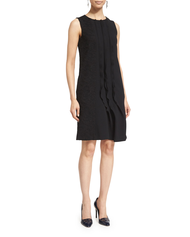 Sleeveless Ruffle-Front Shift Dress, Black