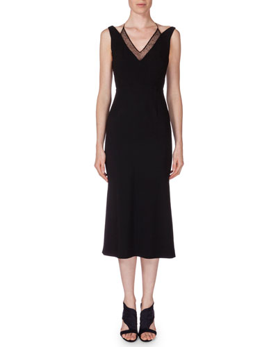 Shannon Layered V-Neck Dress, Black