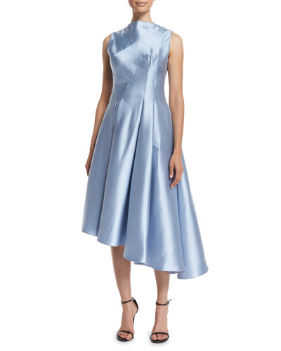 Sleeveless Asymmetric Cocktail Dress, Sky