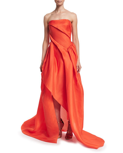 Strapless Draped Gown, Orange