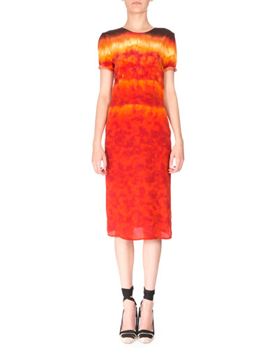 Rolled Short-Sleeve Silk Tie-Dye Dress, Ceramic Orange