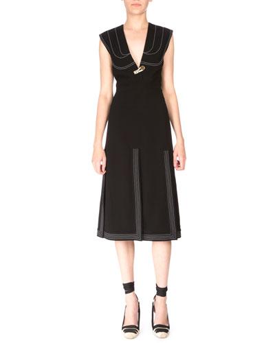 Sleeveless V-Neck Carwash Dress, Black