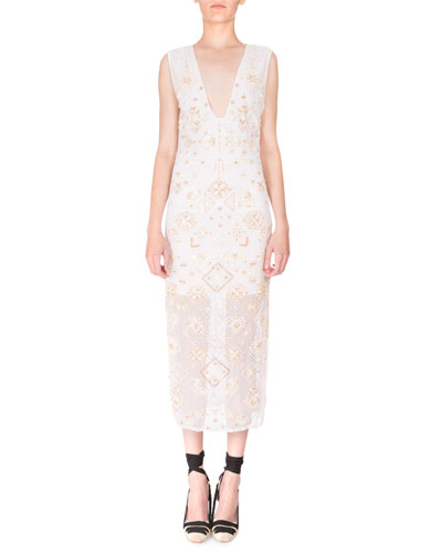 Sleeveless Eyelet-Beaded V-Neck Dress, Optic White