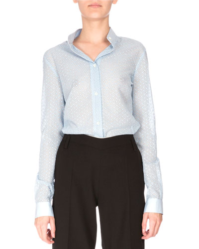 Nora Button-Front Lace Blouse, Pale Blue